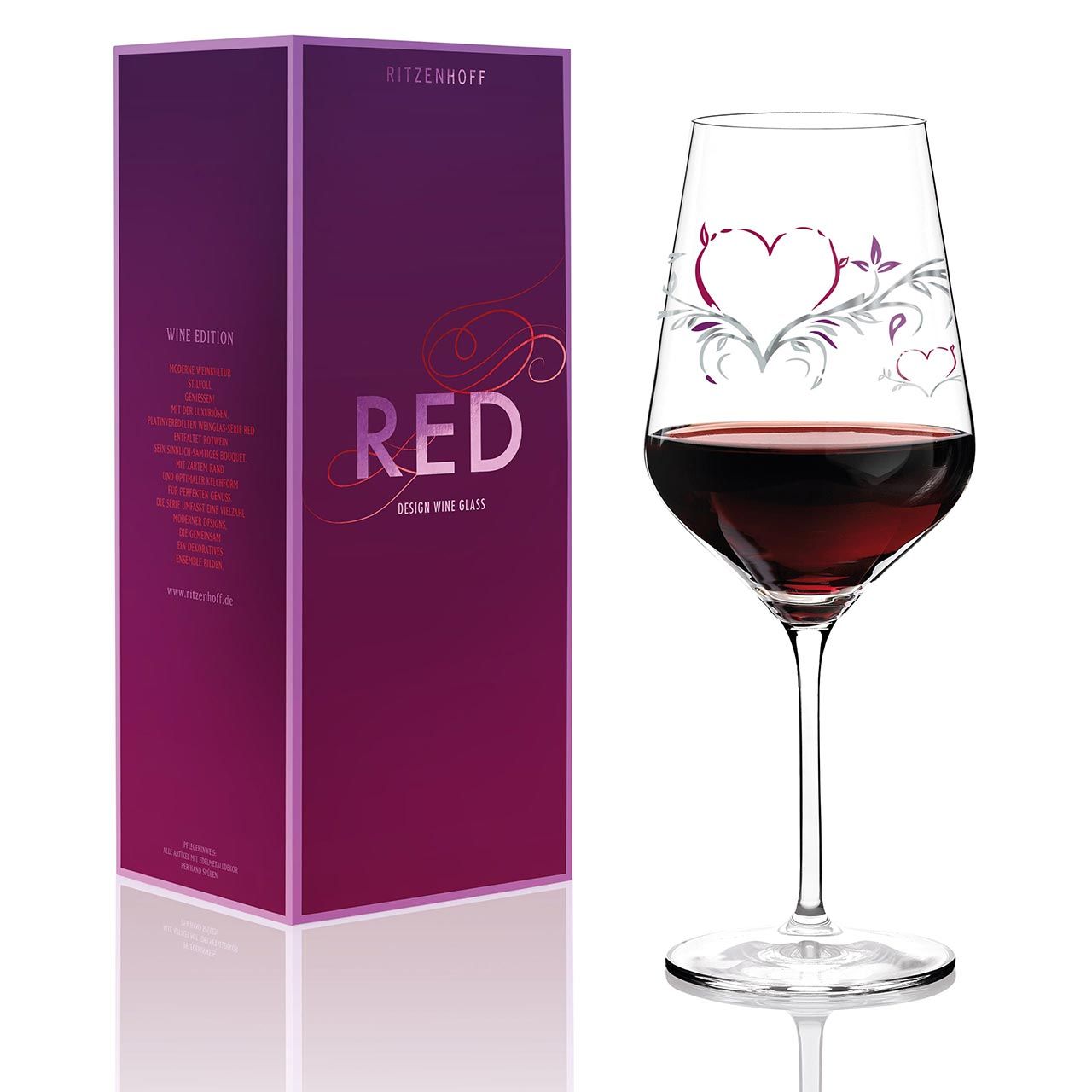 RITZENHOFF Red Wine Glass Heart with platinum decor | the design gift shop