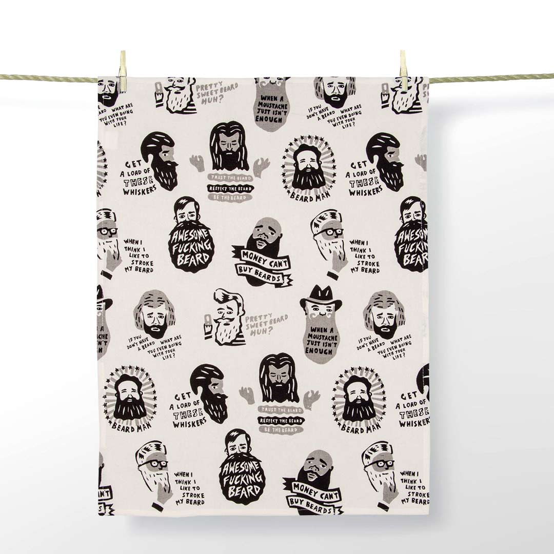 'Awesome F*ucking Beard' Dish Towel by Blue Q  | the design gift shop