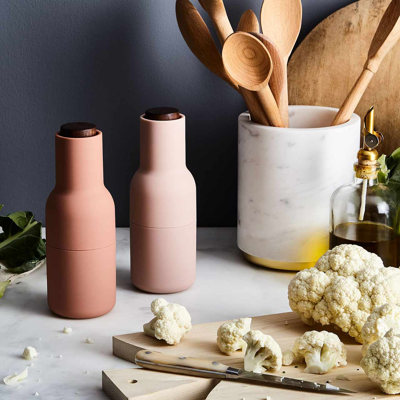 Menu Norm salt & pepper bottle grinder set in Nudes/walnut | the design gift shop
