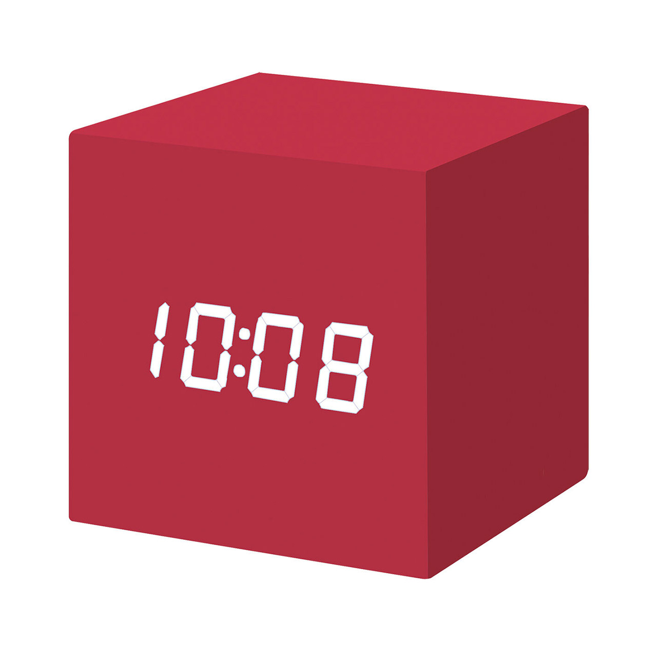 MoMA cube click clock red / white LED | the design gift shop