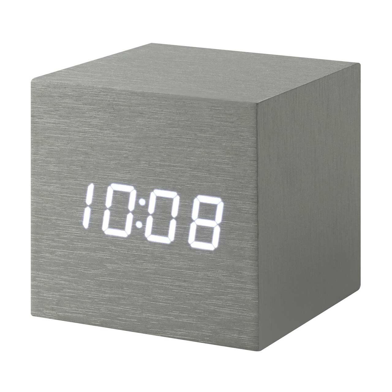 MoMA cube click clock Alume / white LED | the design gift shop
