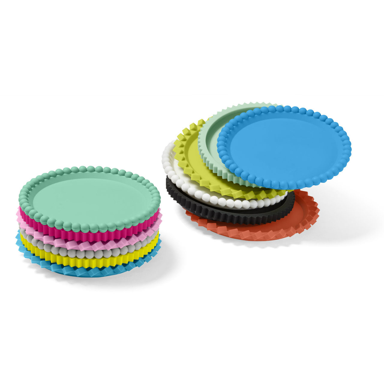MoMA Geo Stacking Coasters (Set of 6) Primary Colours (stack on the right) | the design gift shop