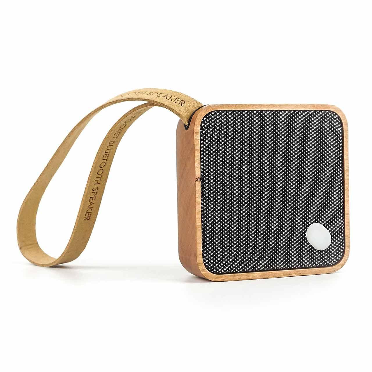 GINGKO Mi Square Pocket Bluetooth Speaker Cherry Wood | the design gift shop