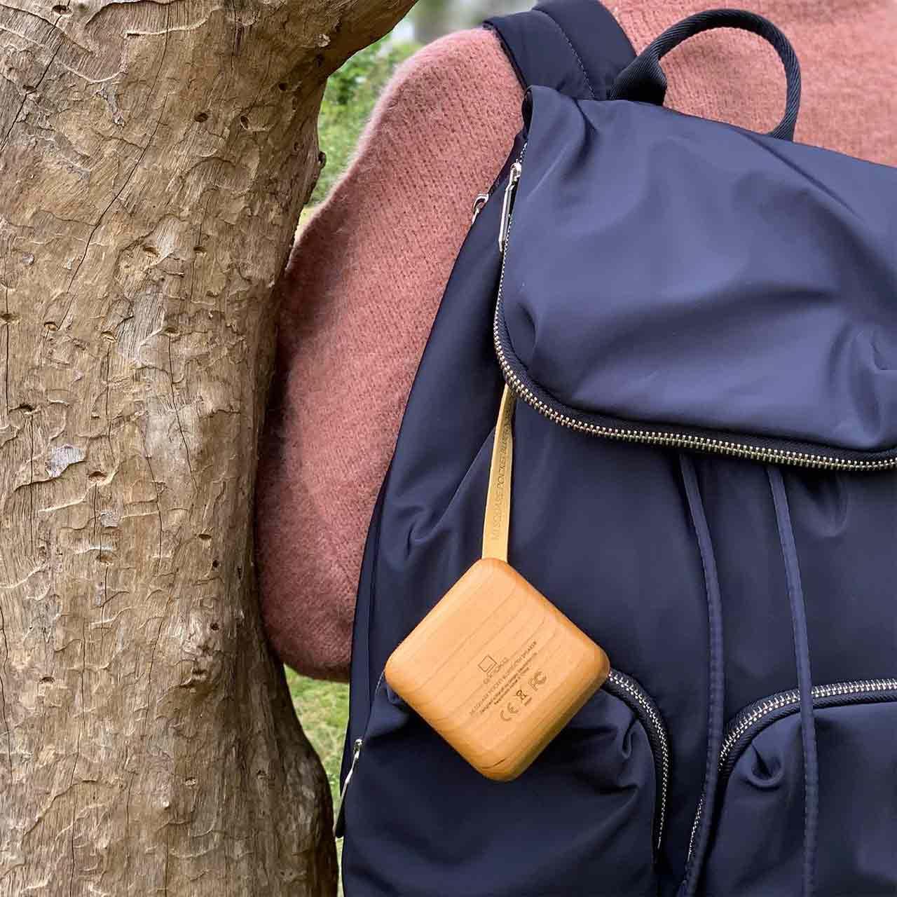 GINGKO Mi Square Pocket Bluetooth Speaker Cherry Wood   the design gift shop