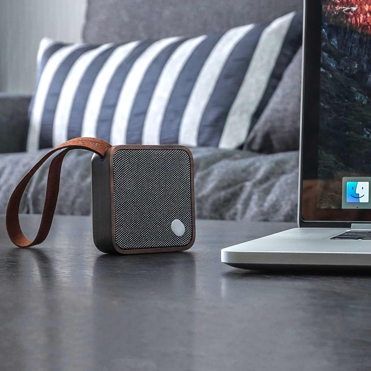 GINGKO Mi Square Pocket Bluetooth Speaker Walnut Wood | the design gift shop
