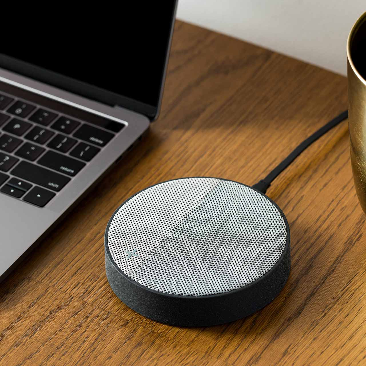 LEXON Oslo Energy Grey Charging Station & Bluetooth Speaker | The Design Gift Shop