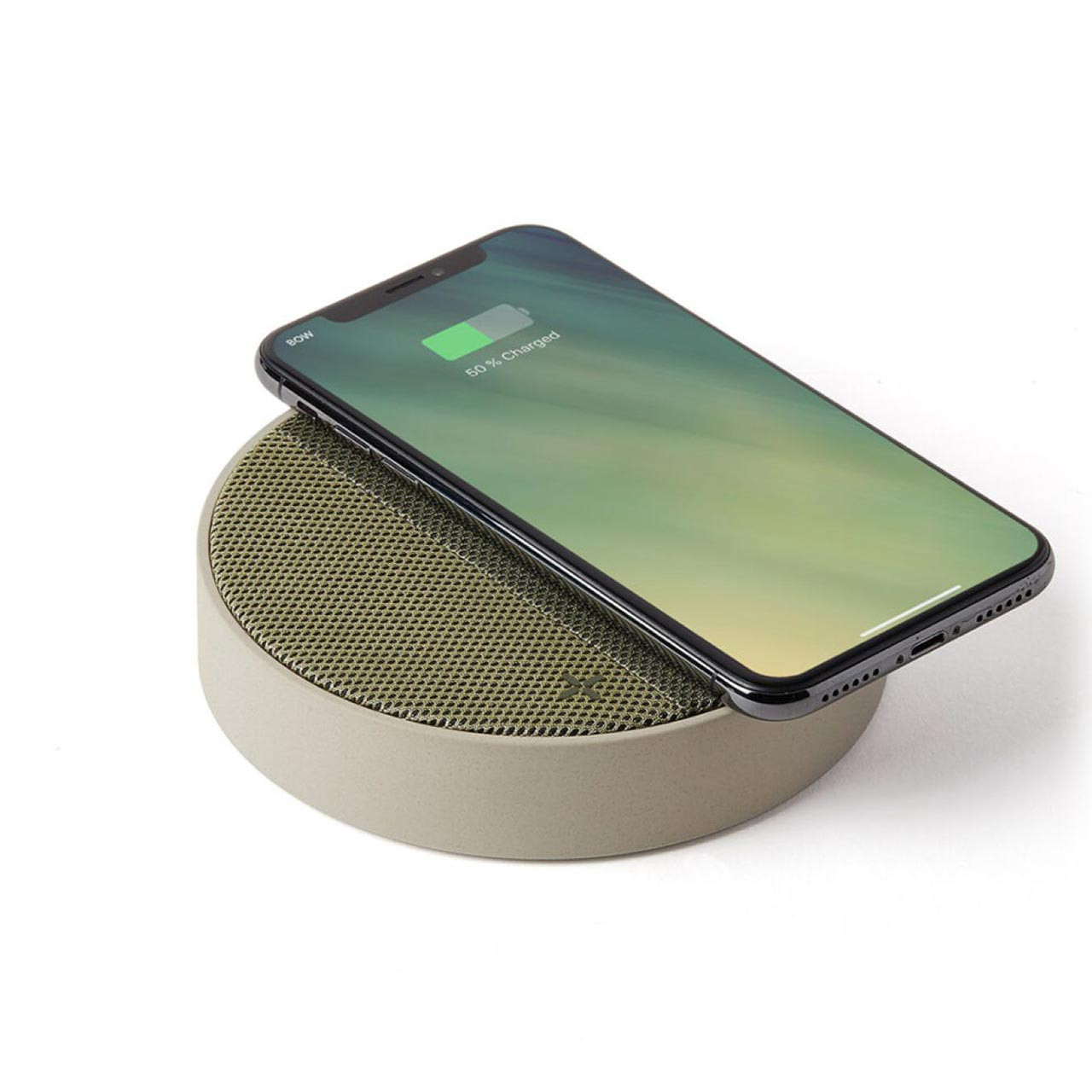 LEXON Oslo Energy Light Grey/Green Charging Station & Bluetooth Speaker   The Design Gift Shop