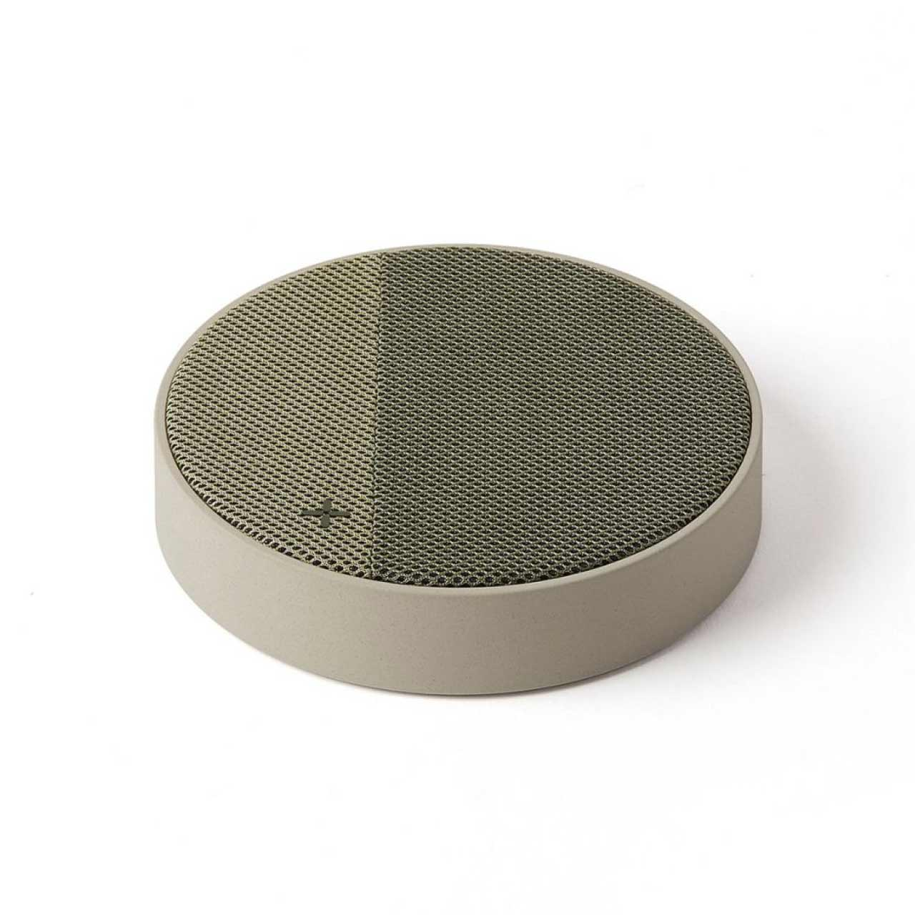 LEXON Oslo Energy Light Grey/Green Charging Station & Bluetooth Speaker | the design gift shop