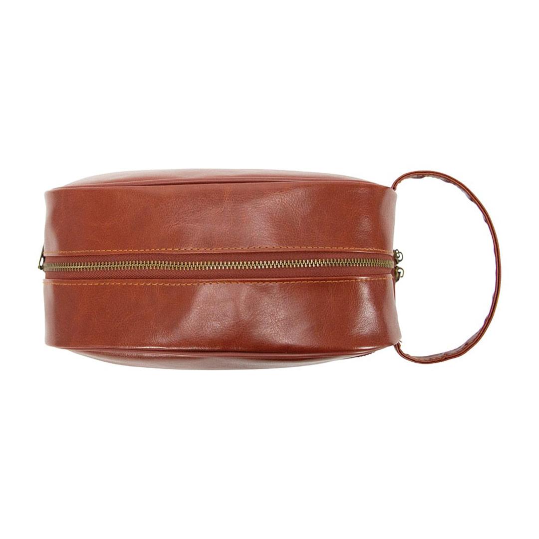 ANNABEL TRENDS Gentleman's brown vegan leather toiletries bag | the design gift shop