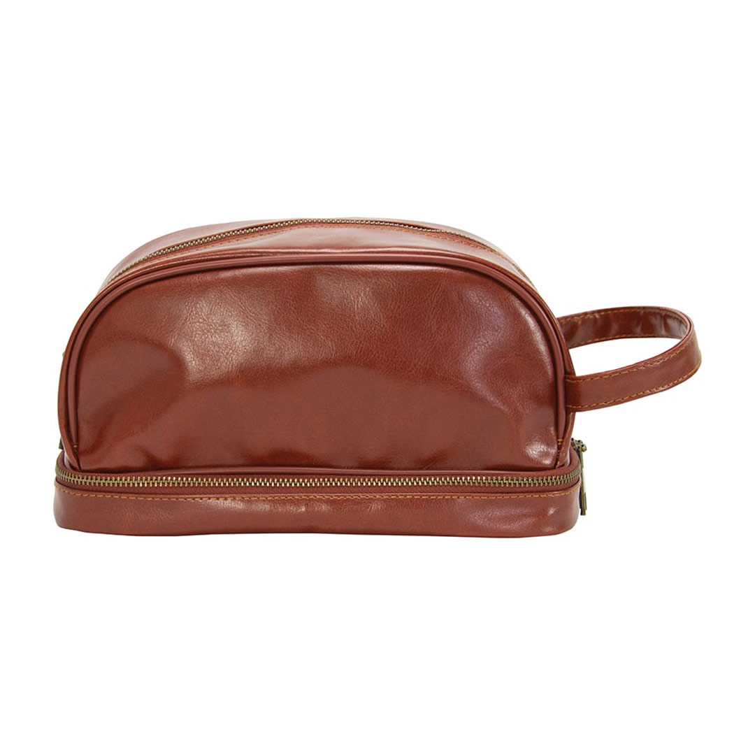 ANNABEL TRENDS Gentleman's brown vegan leather toiletries bag | the design gift shop