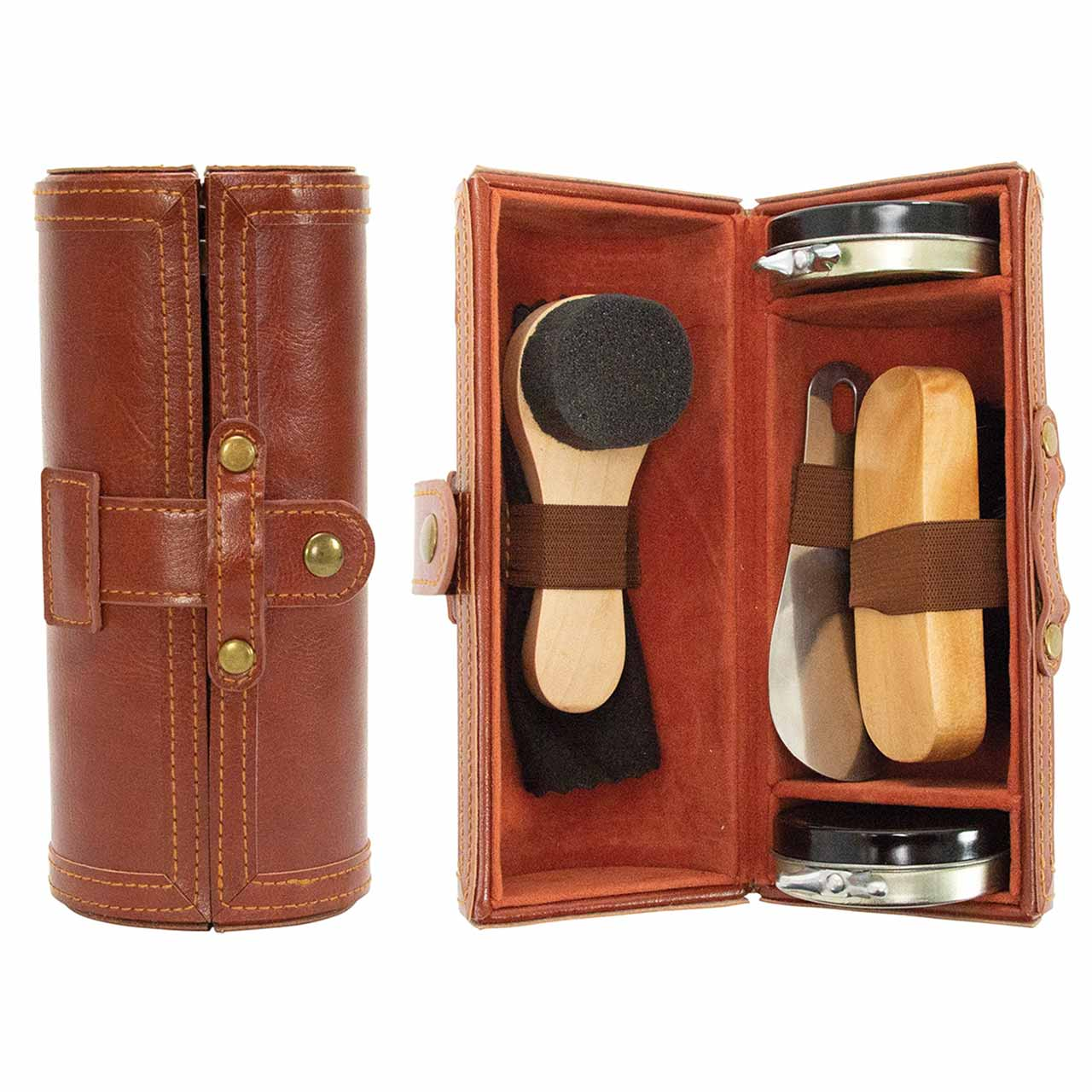 ANNABEL TRENDS Gentleman's brown vegan leather shoe shine kit | the design gift shop