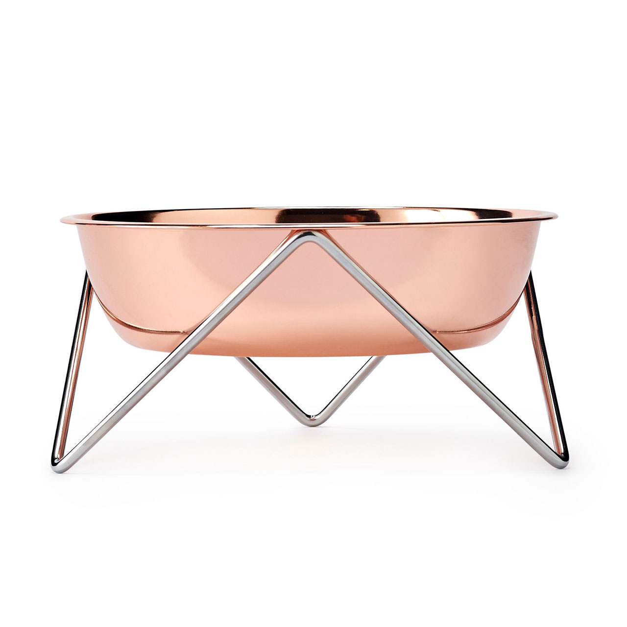 bendo woof dog bowl copper on chrome   the design gift shop
