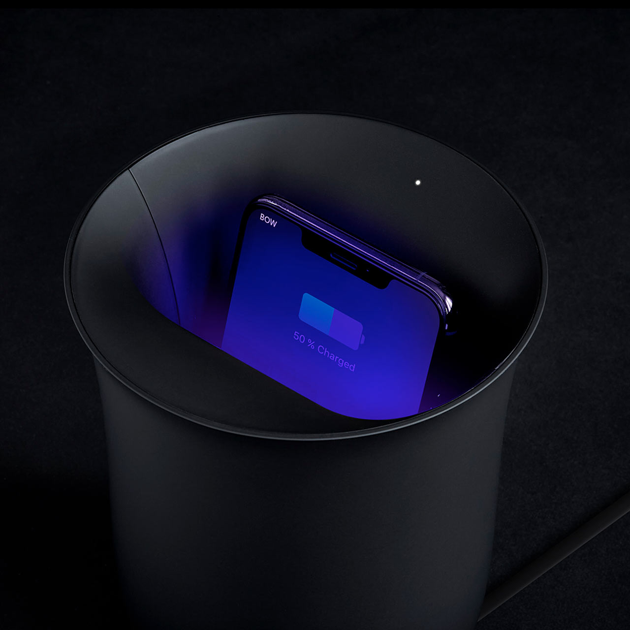 LEXON Oblio UV-C Sanitizing Qi Charging Station Black | the design gift shop