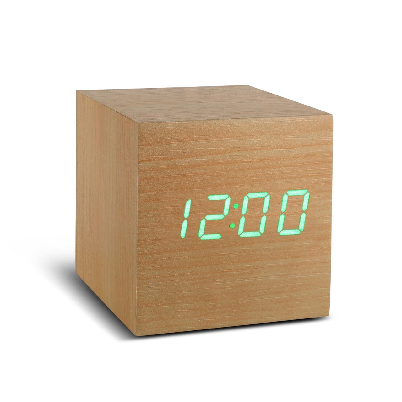 GINKGO cube click clock beech / green LED   the design gift shop