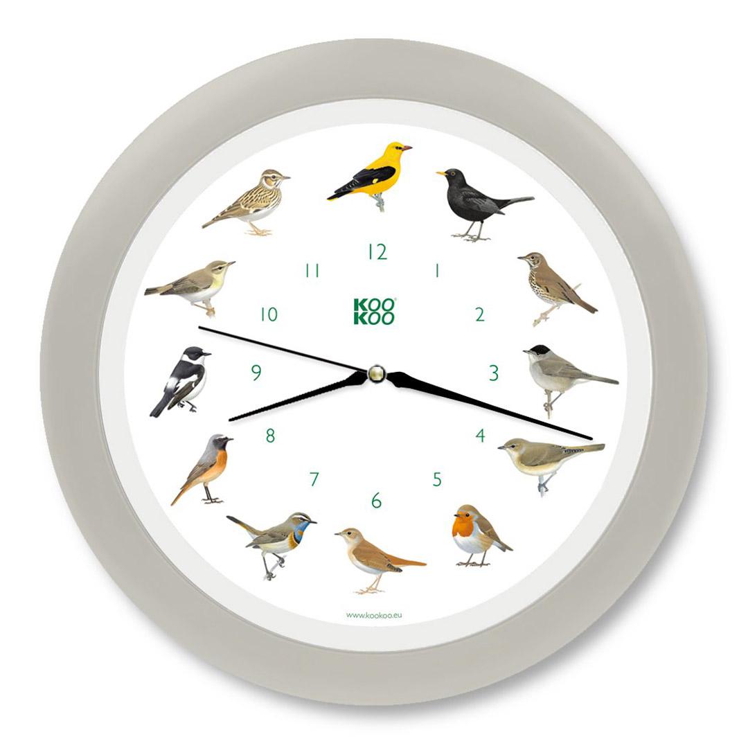 KooKoo - Singvögel - European Songbirds - Wall Clock - Silk-Grey Rim | the design gift shop