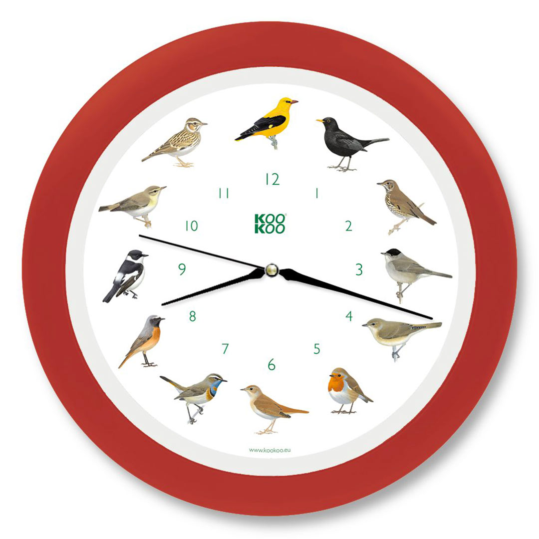 KooKoo - Singvögel - European Songbirds - Wall Clock - Strawberry-Red Rim | the design gift shop