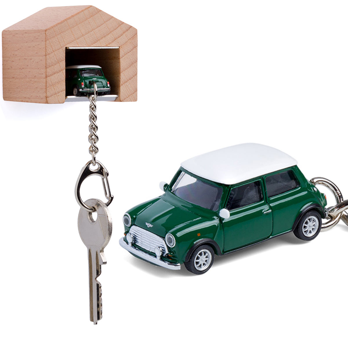 British Racing Green Mini Cooper keyring with beech wood garage | the design gift shop