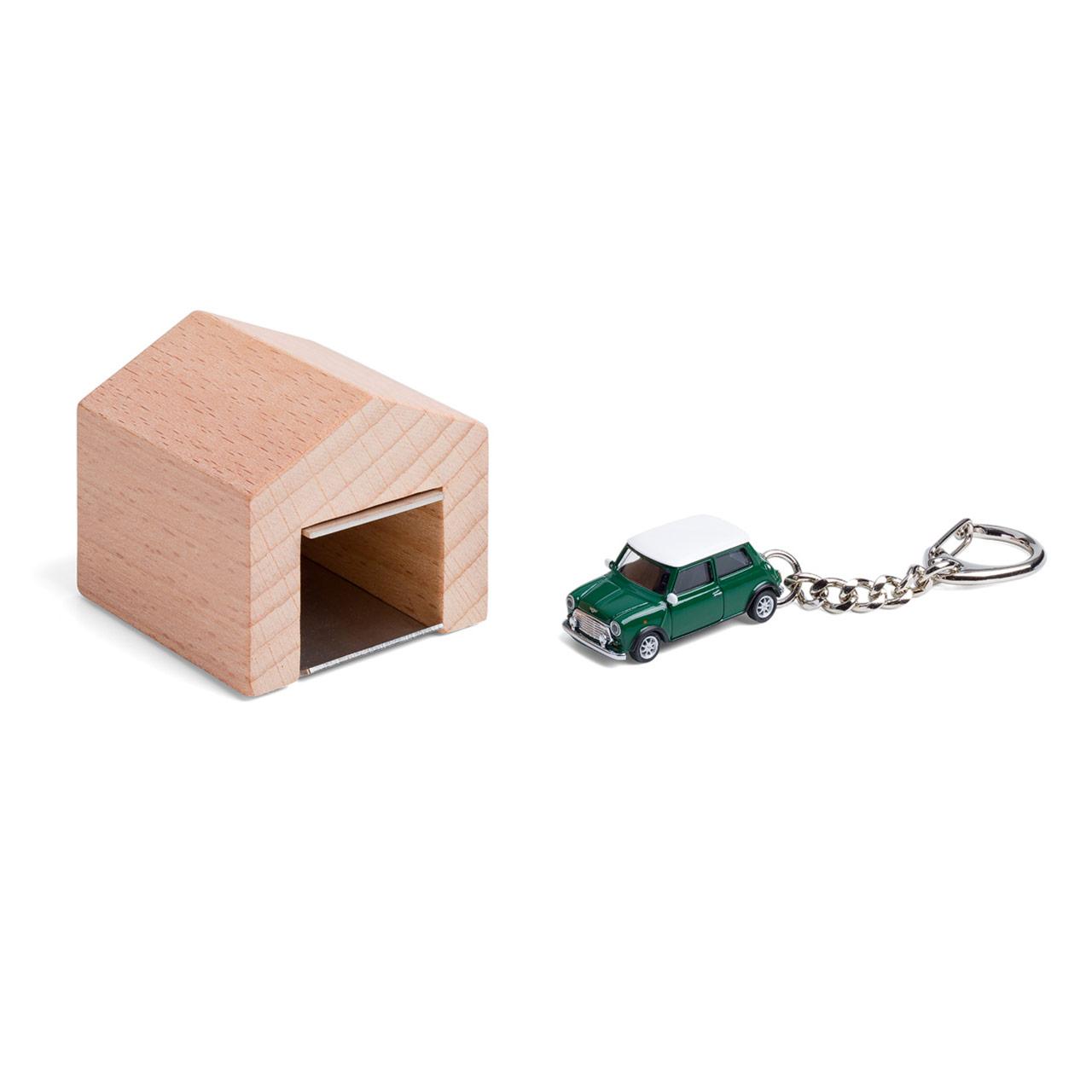 British Racing Green Mini Cooper keyring with beech wood garage | the design gift shop
