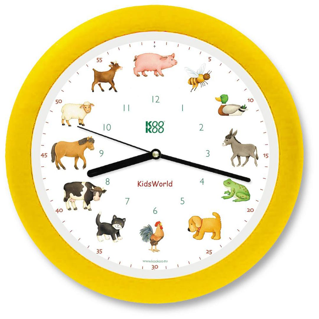 KooKoo - KidsWorld - Farm Animals - Wall Clock - Yellow Rim | the design gift shop