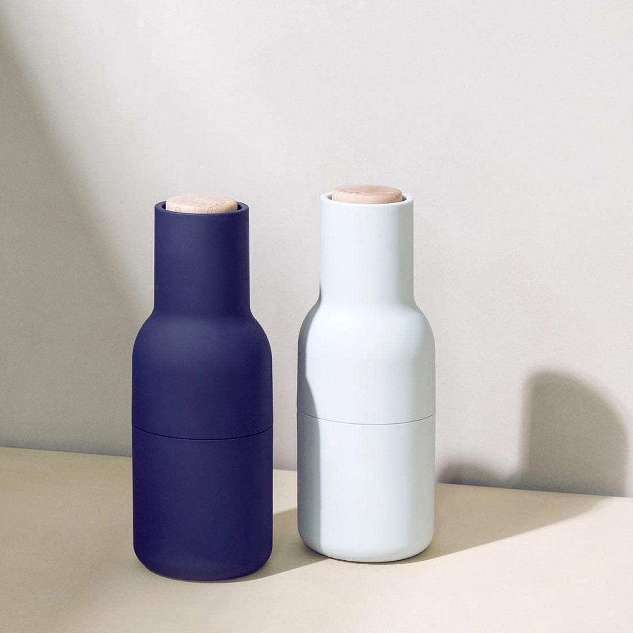 Menu Norm salt & pepper bottle grinder set in classic blue | the design gift shop
