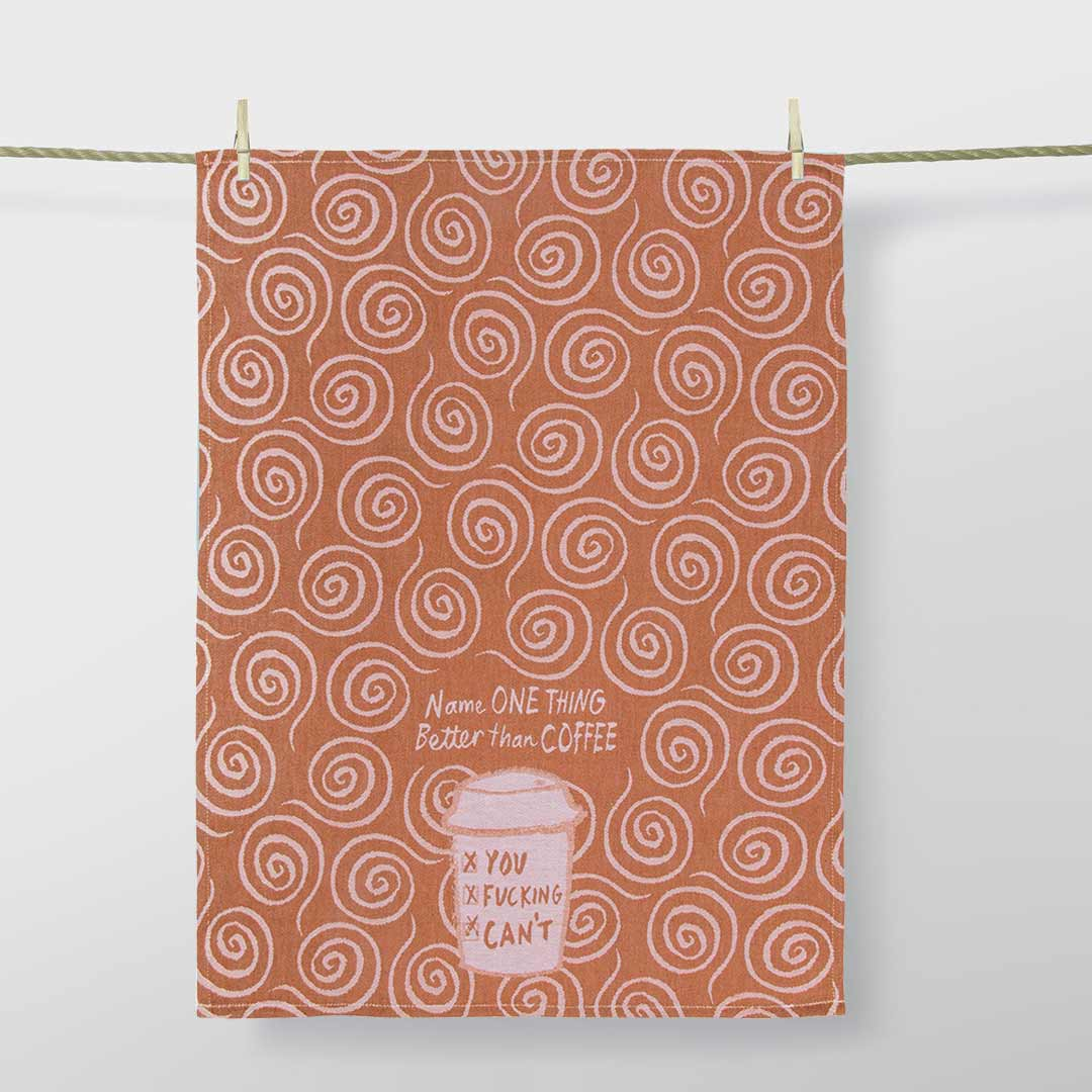 'Name One Thing Better Than Coffee' Dish Towel by Blue Q  | the design gift shop