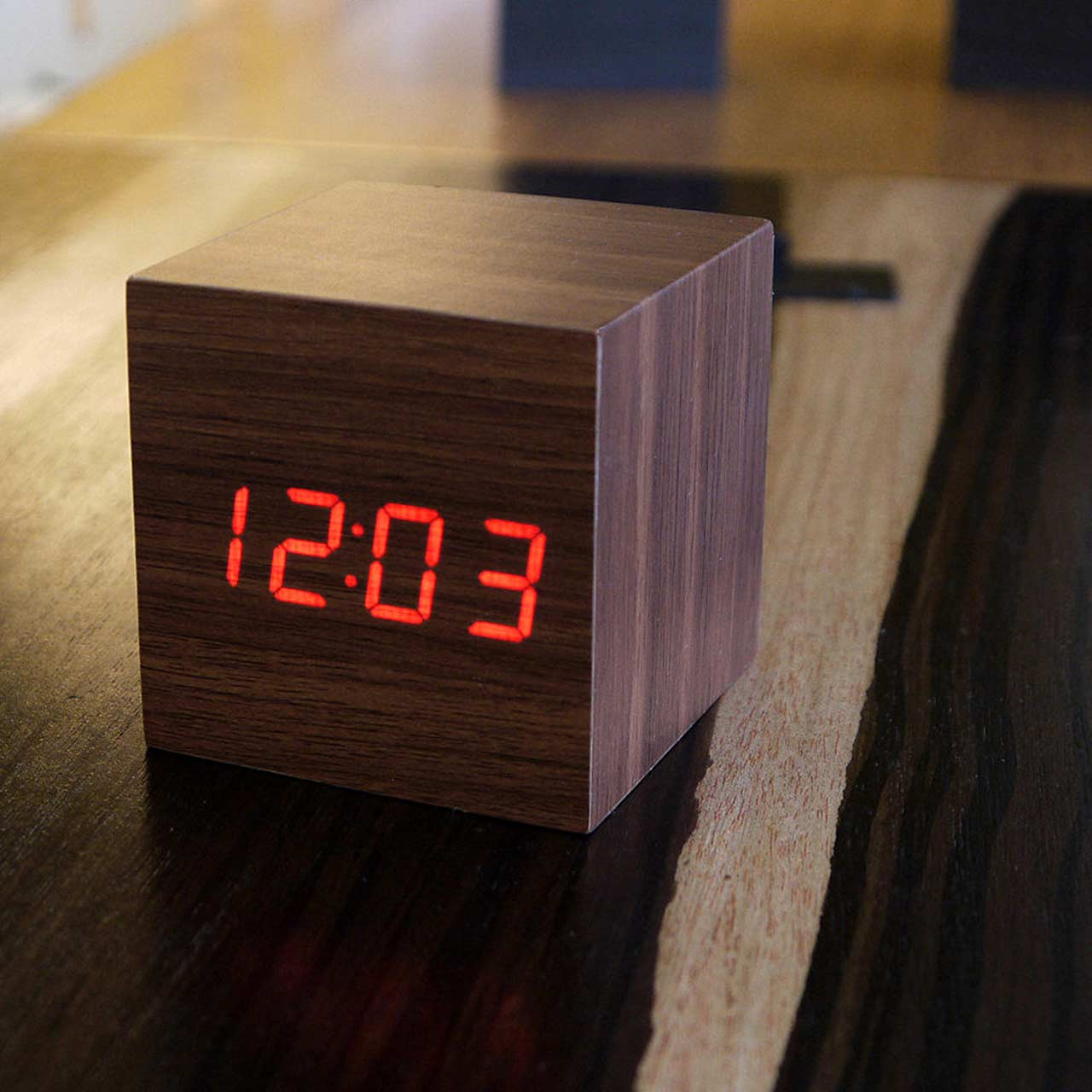 GINKGO cube click clock walnut / red LED | the design gift shop