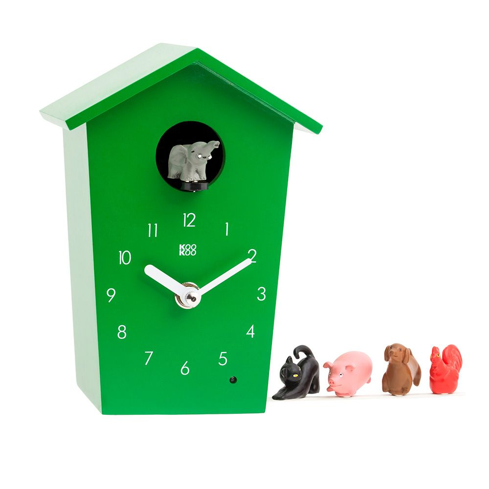 KooKoo AnimalHouse green wall clock and mantel clock | the design gift shop