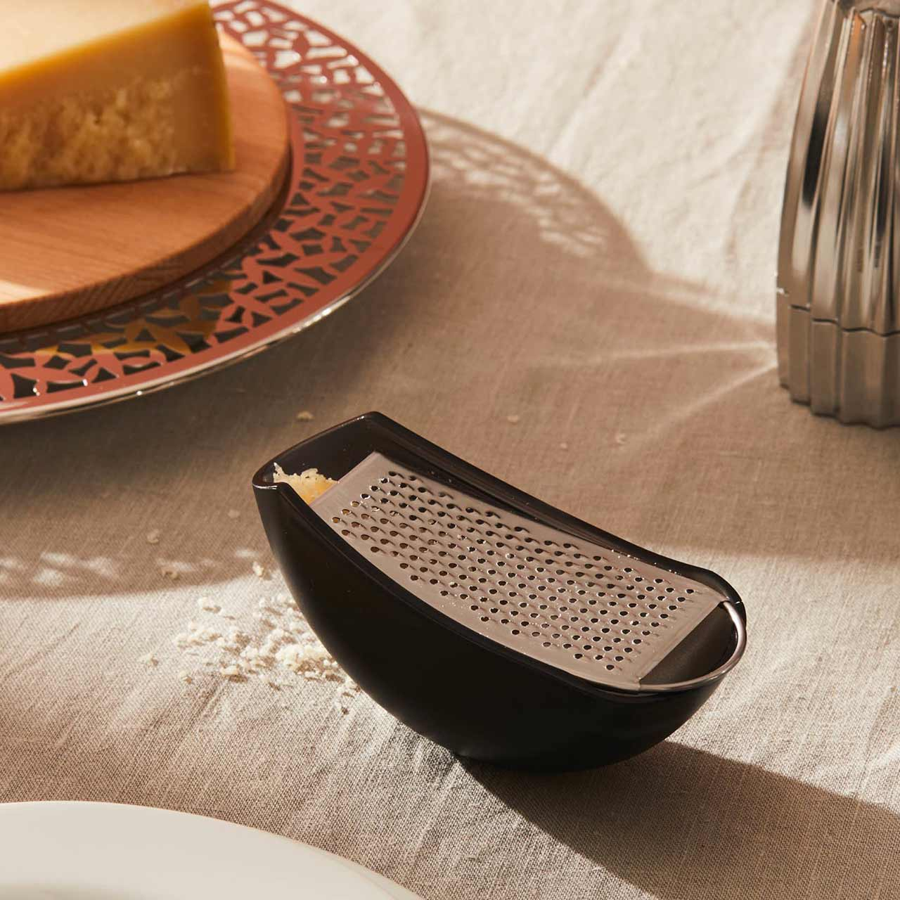 ALESSI PARMENIDE  Grater with black cheese cellar   the design gift shop