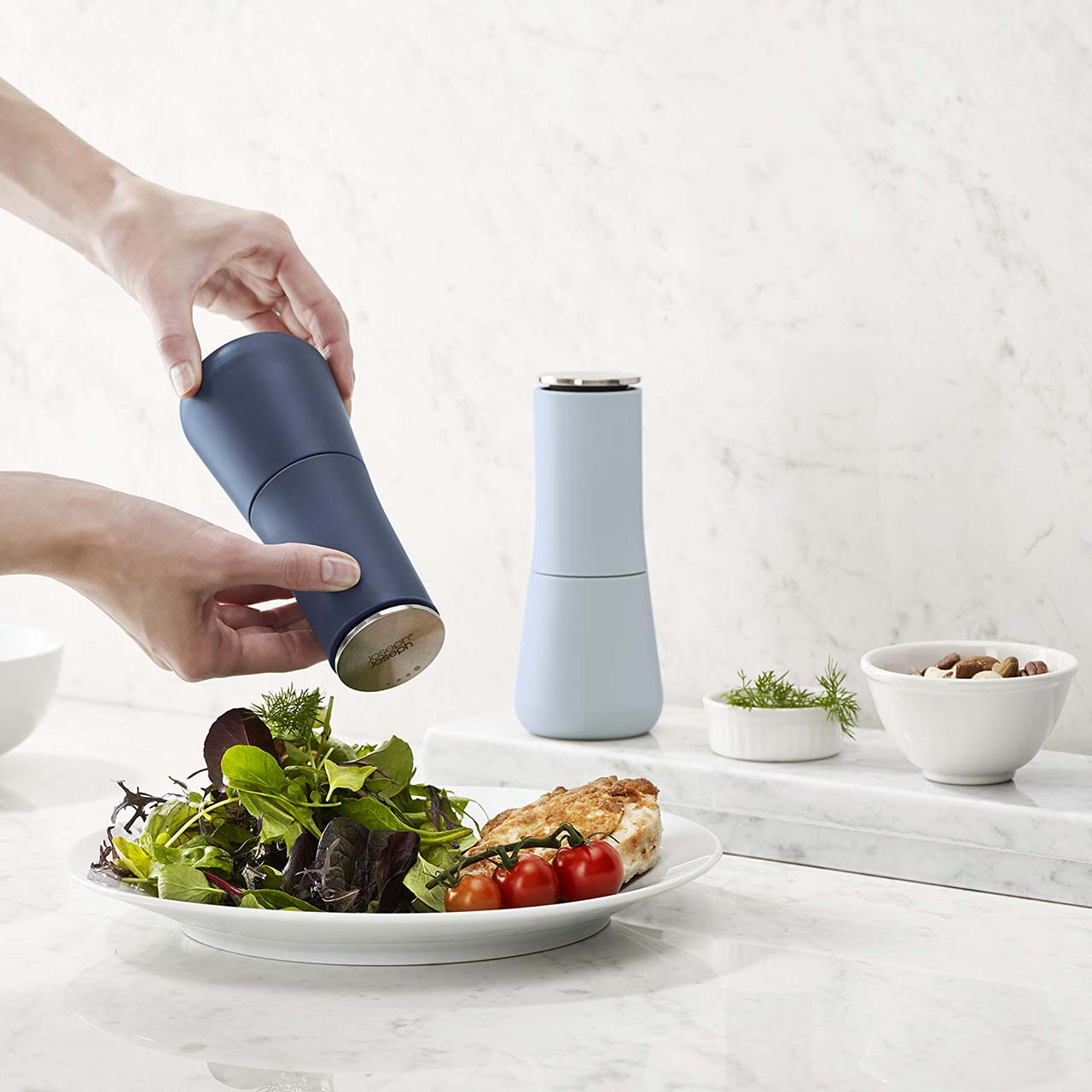 JOSEPH JOSEPH Milltop Sky No-Spill Salt & Pepper Mills | the design gift shop