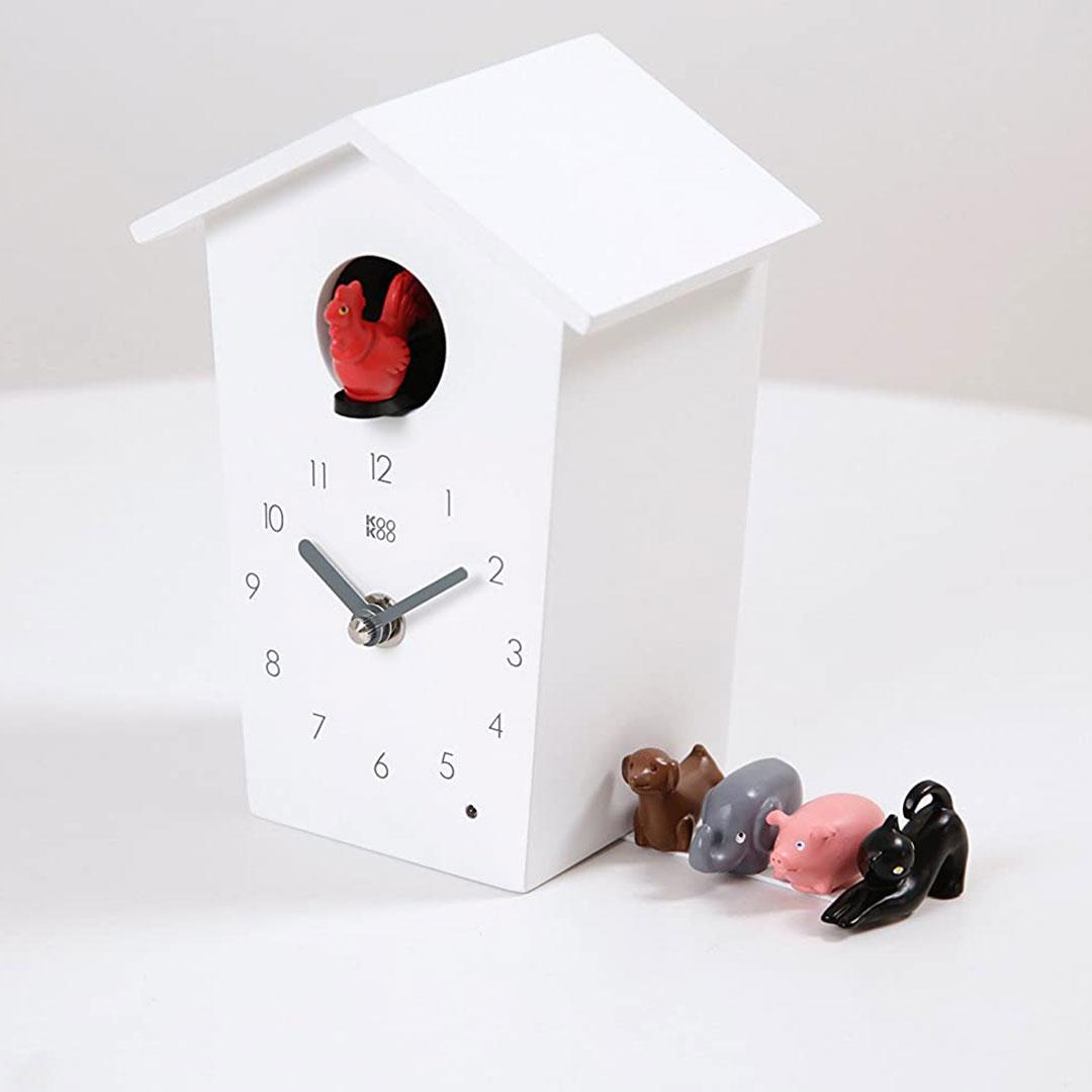 KooKoo AnimalHouse white wall clock and mantel clock | the design gift shop