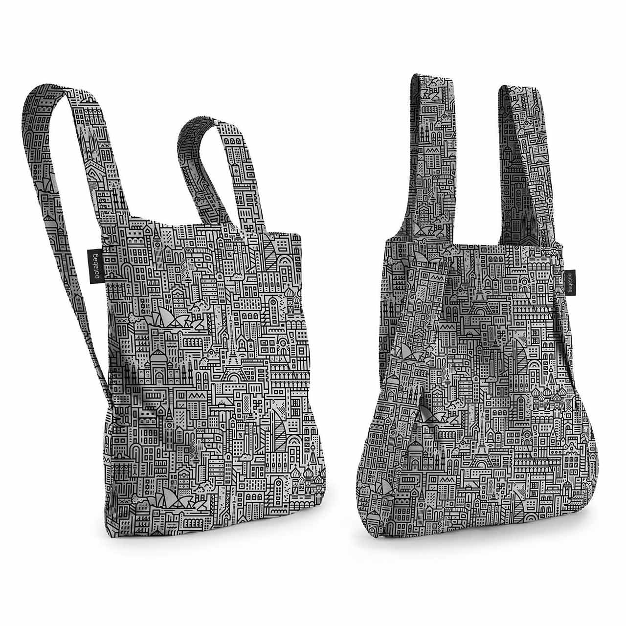 Notabag Hello World Black / Grey Shopping Bag & Backpack | the design gift shop
