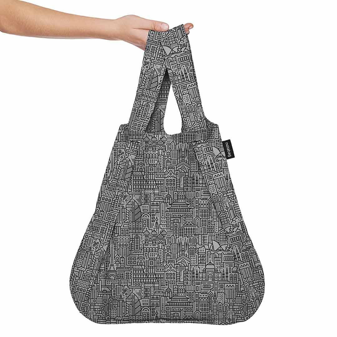 NOTABAG Shopping Bag and Backpack Hello World | Black/Grey