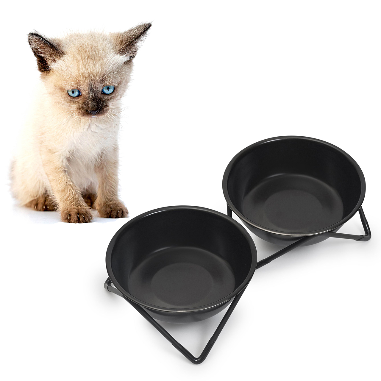 BENDO meow meow luxe cat double dish black on black | the design gift shop