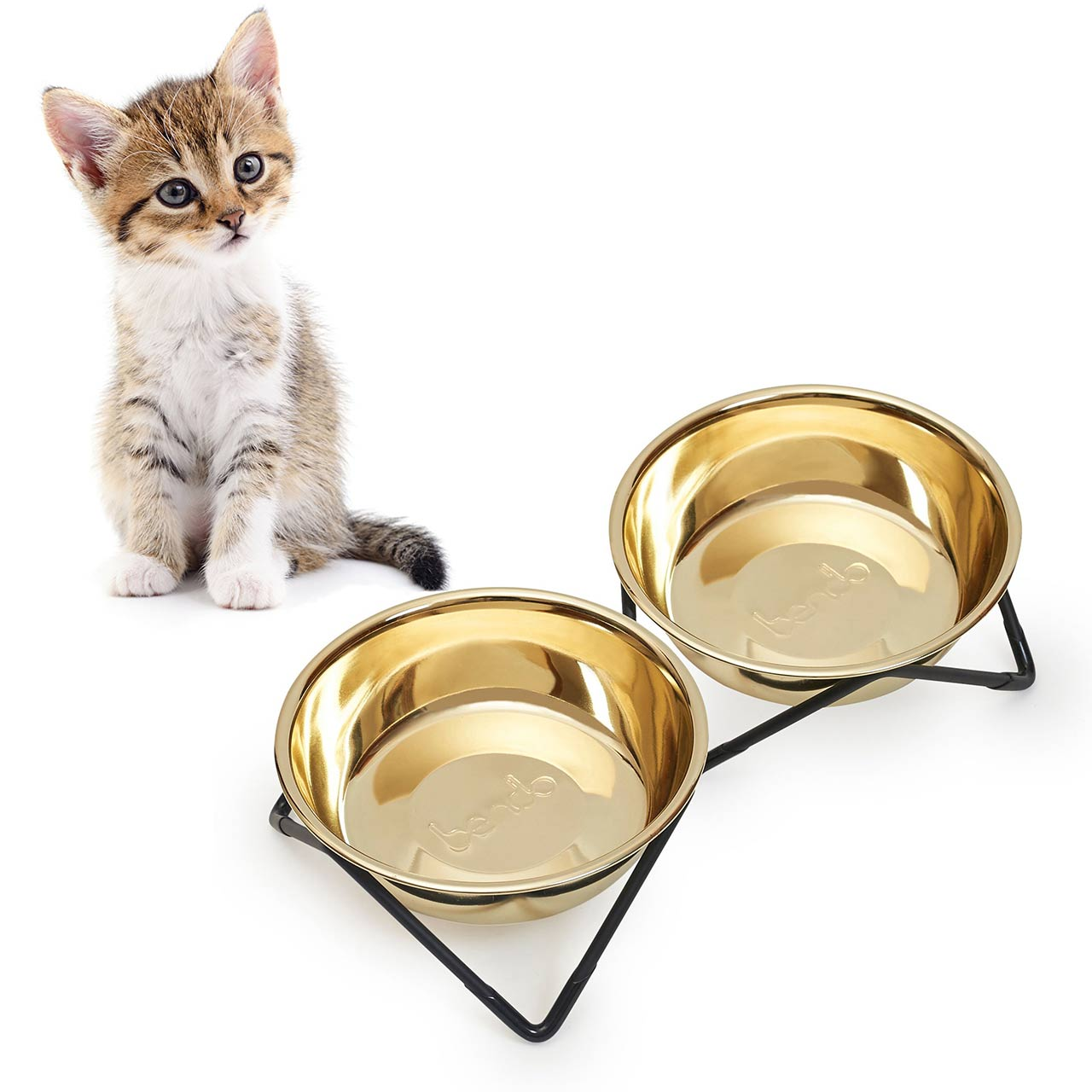 BENDO meow meow luxe cat double dish gold on black | the design gift shop