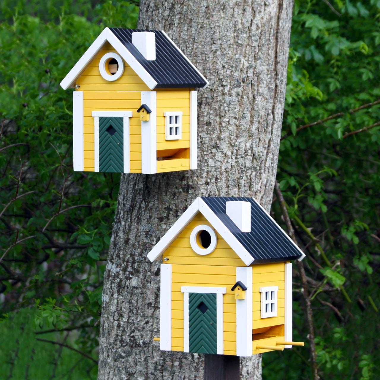 WILDLIFE GARDEN Bird Feeder & Nesting Box Yellow Cottage (shown with wall or post mounting) | the design gift shop
