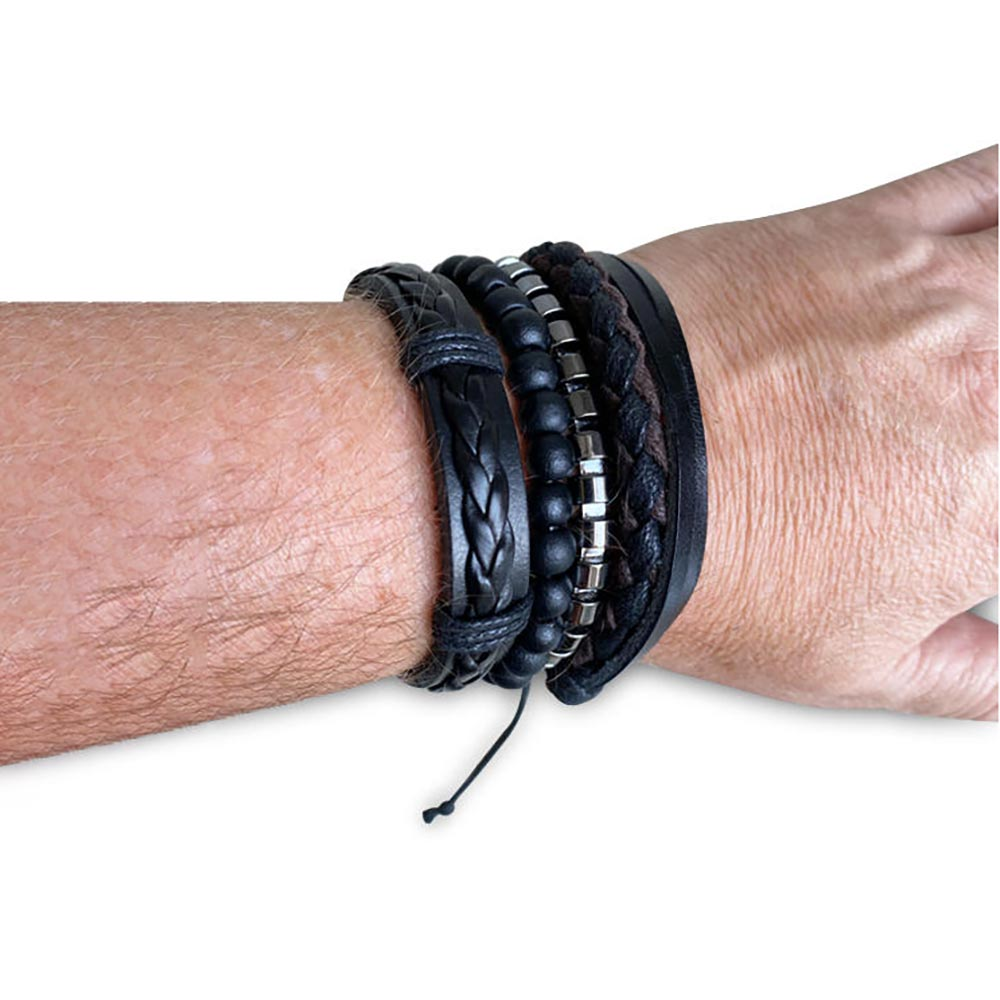Men's Republic Black Chronograph Watch & 4 Bracelets Gift Set | the design gift shop