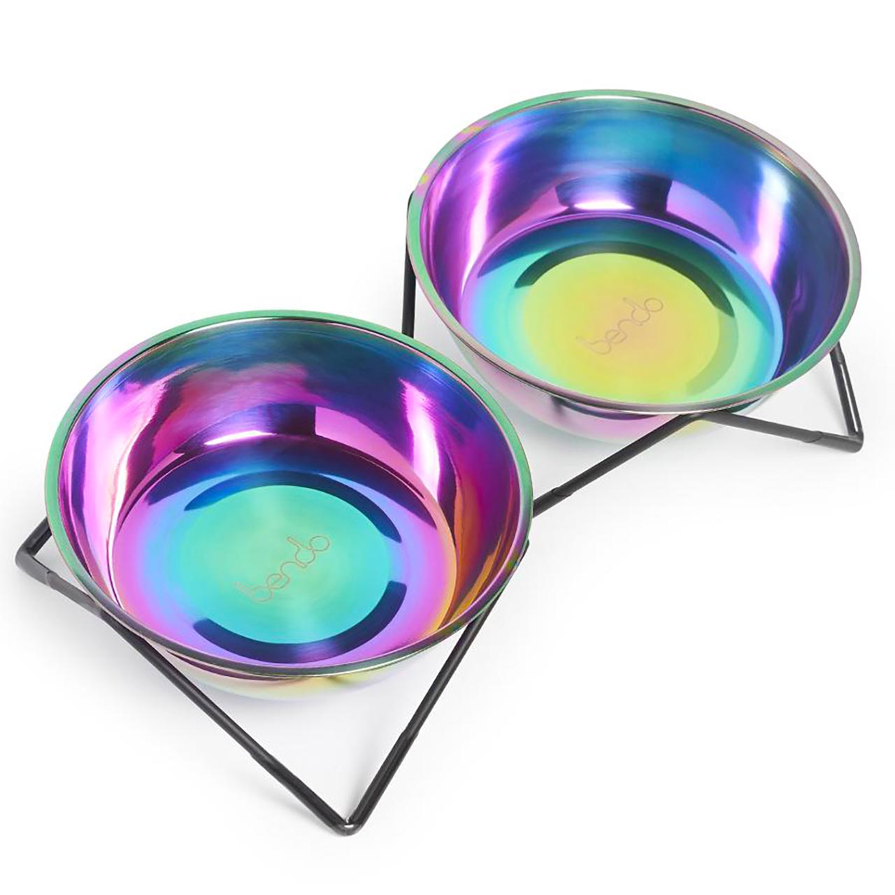 Bendo WOOF WOOF double dog bowl iridescent on black stand   the design gift shop