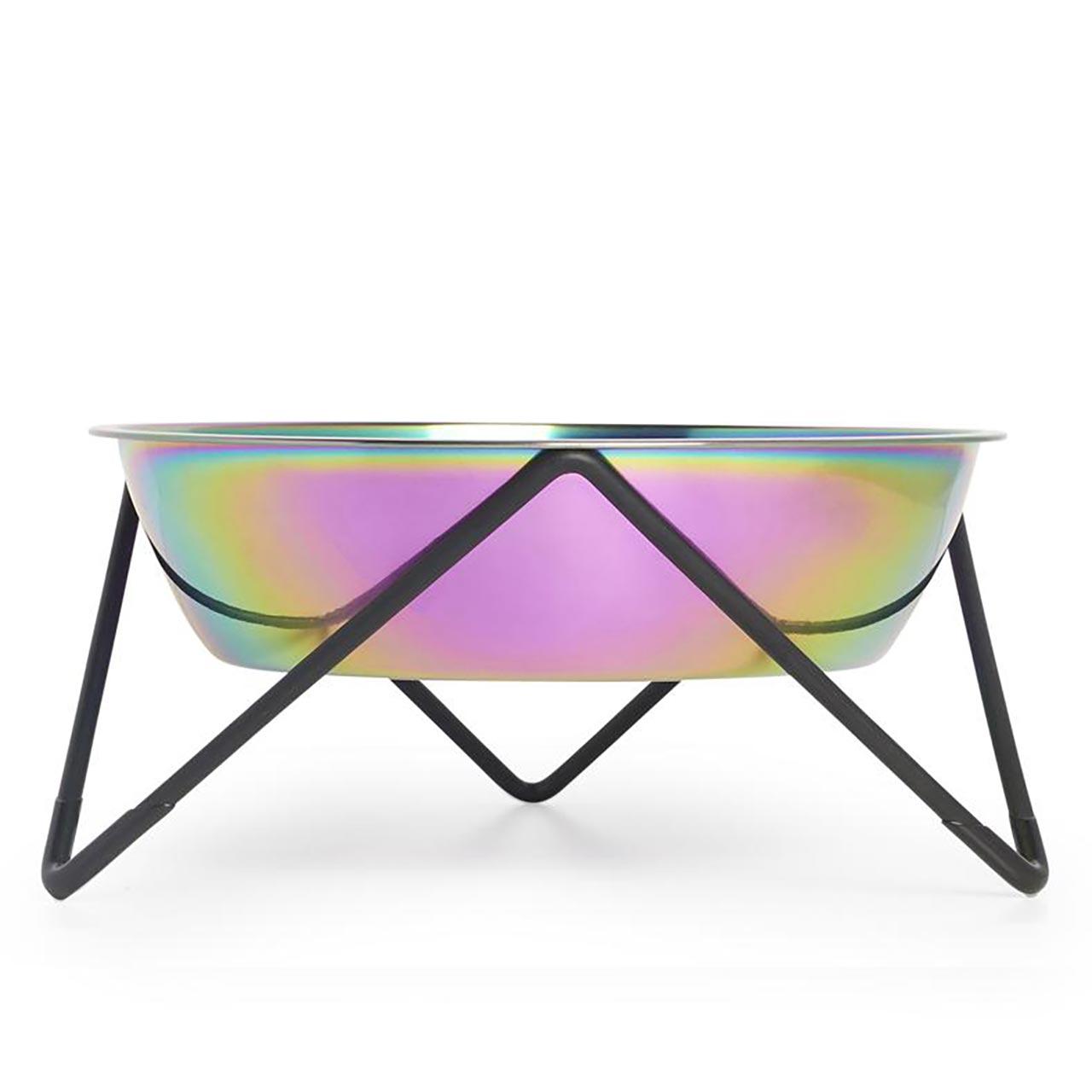 BENDO Dog Bowl Woof Iridescent on Black | the design gift shop