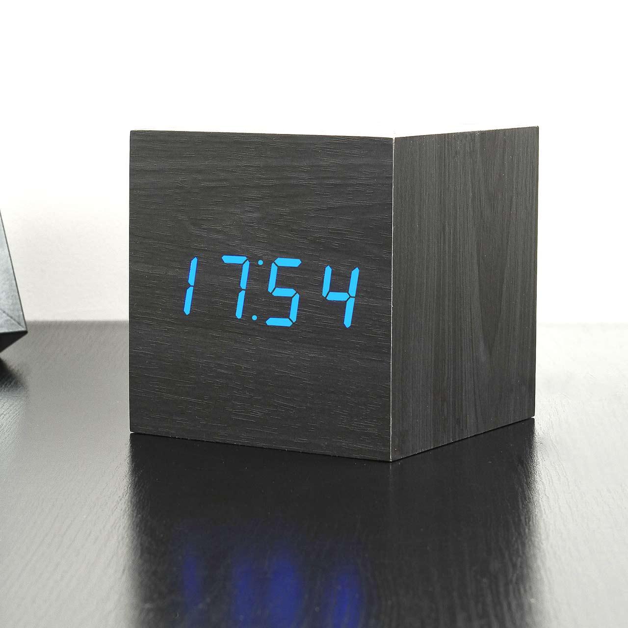 GINKGO cube click clock black / blue LED   the design gift shop