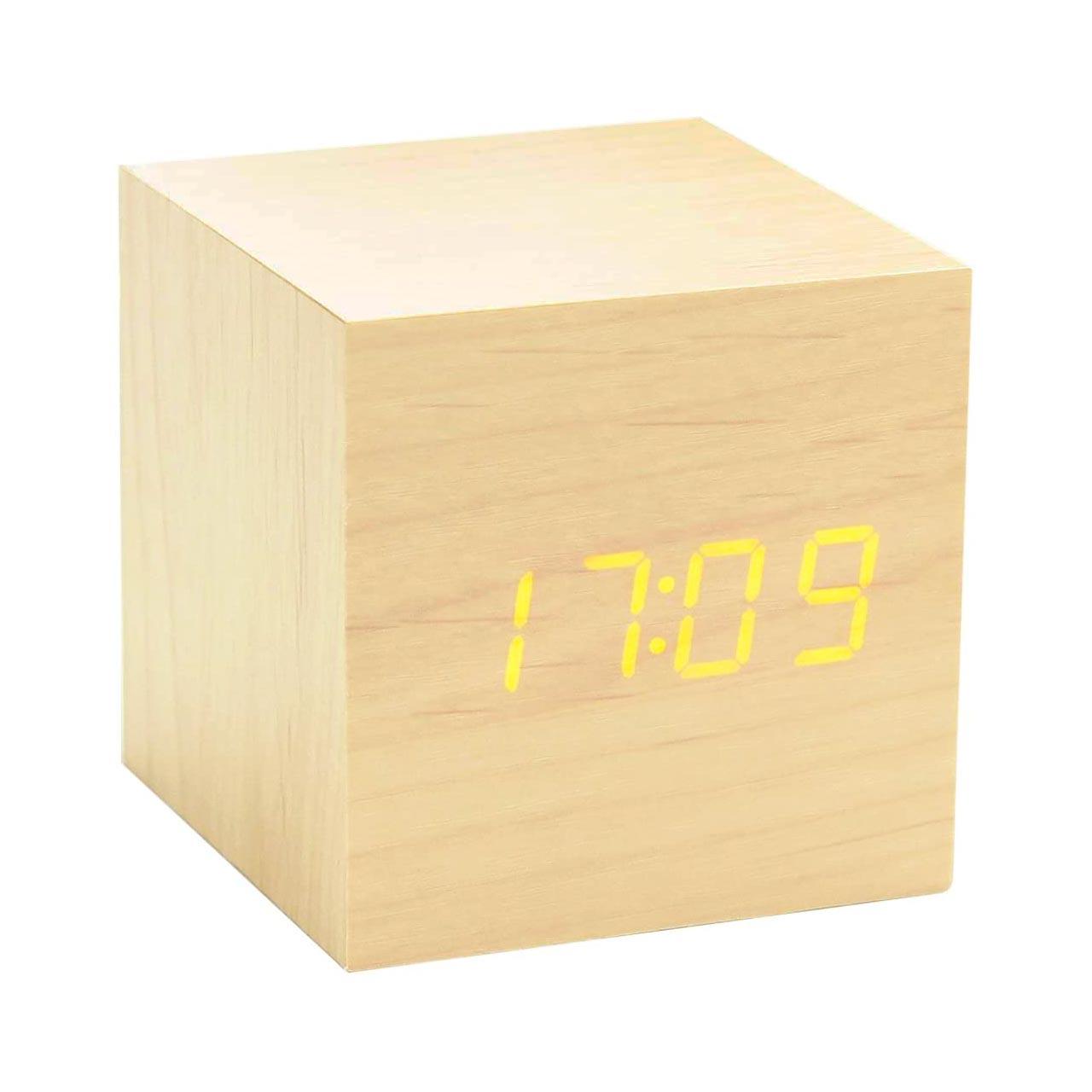 GINKGO cube click clock black / orange LED   the design gift shop