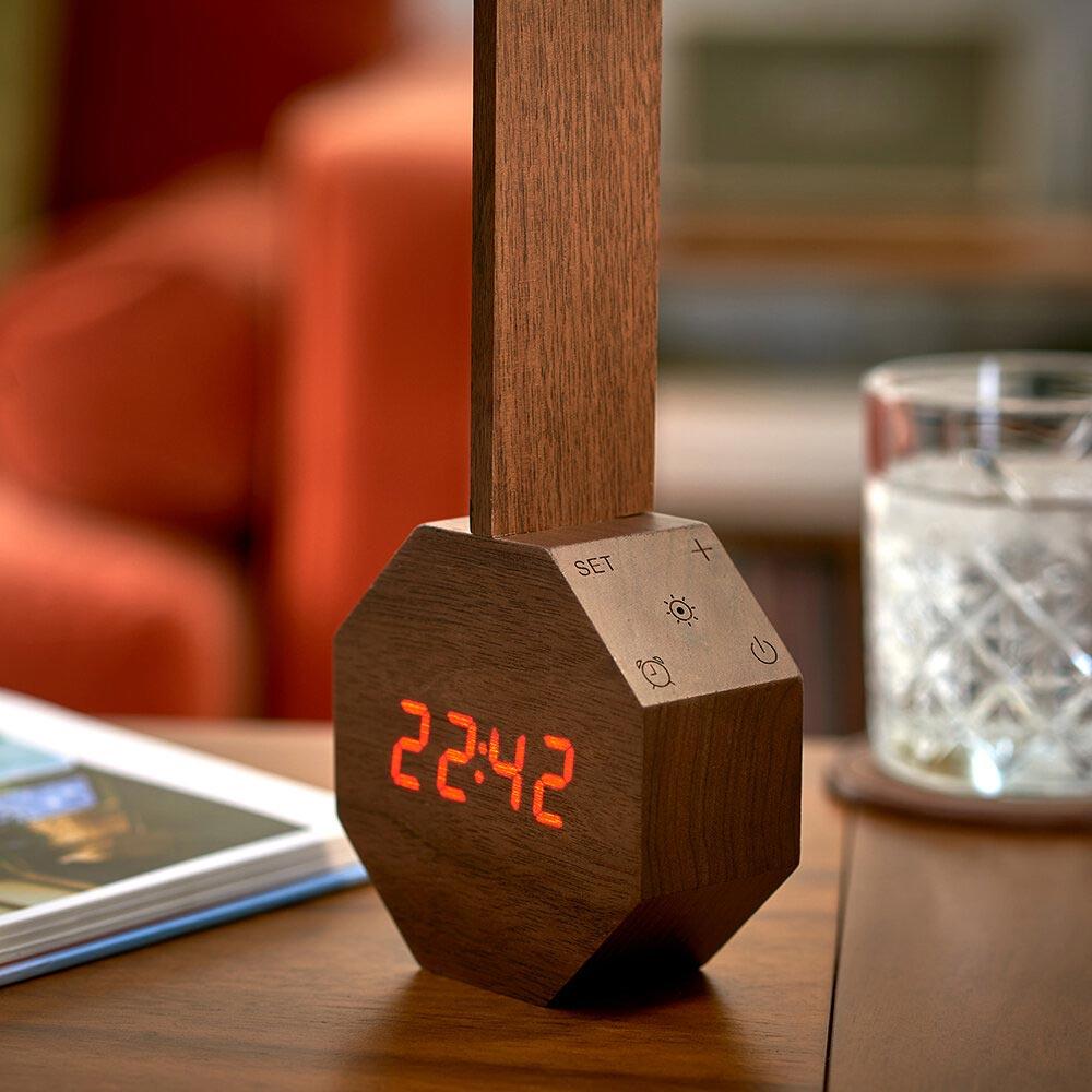 GINKGO Octagon One Plus desk light and alarm clock Walnut   the design gift shop
