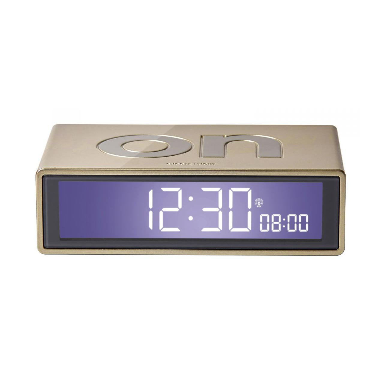 LEXON Flip+ LCD alarm clock LR150D9 gold   the design gift shop