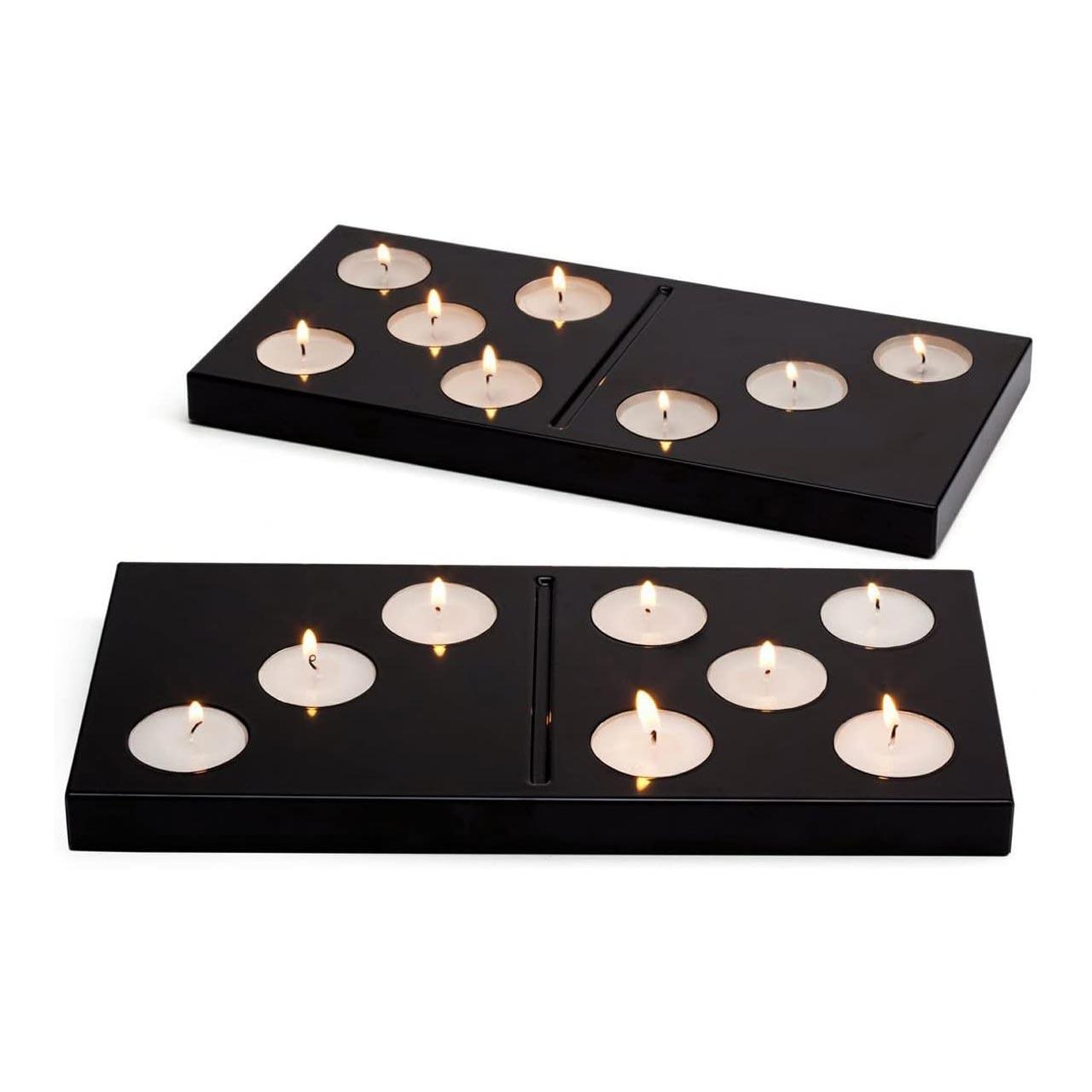 Peleg Design Domino Tea Light Candle Holder Black   the design gift shop