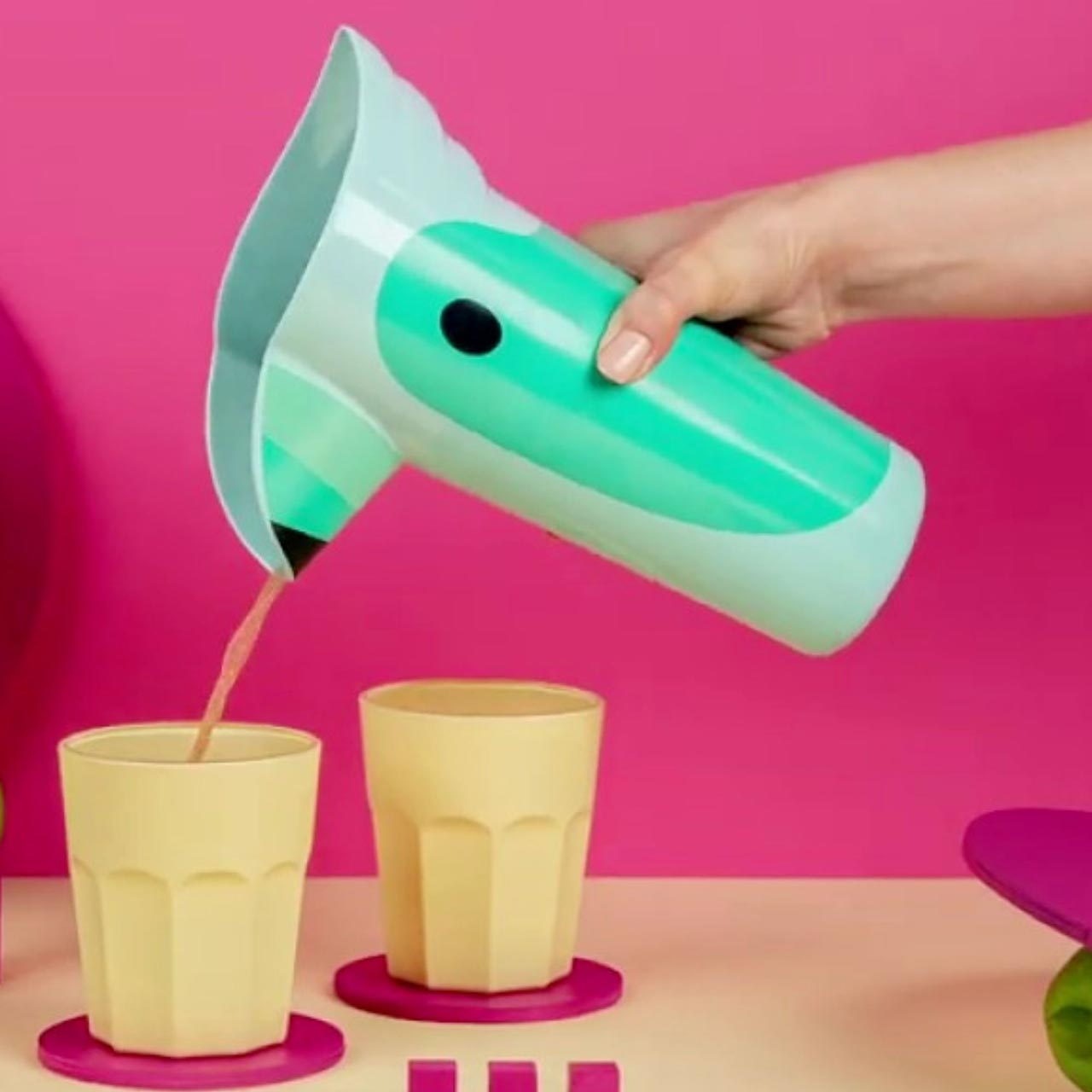 Toucan Polly Pitcher in Turquoise by Ototo   the design gift shop