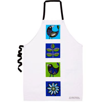 ANNABEL TRENDS apron RETRO BIRDS BLUE | The Design Gift Shop