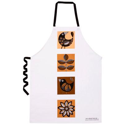 ANNABEL TRENDS apron RETRO BIRDS BROWN | The Design Gift Shop