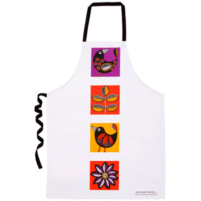 ANNABEL TRENDS apron RETRO BIRDS RED
