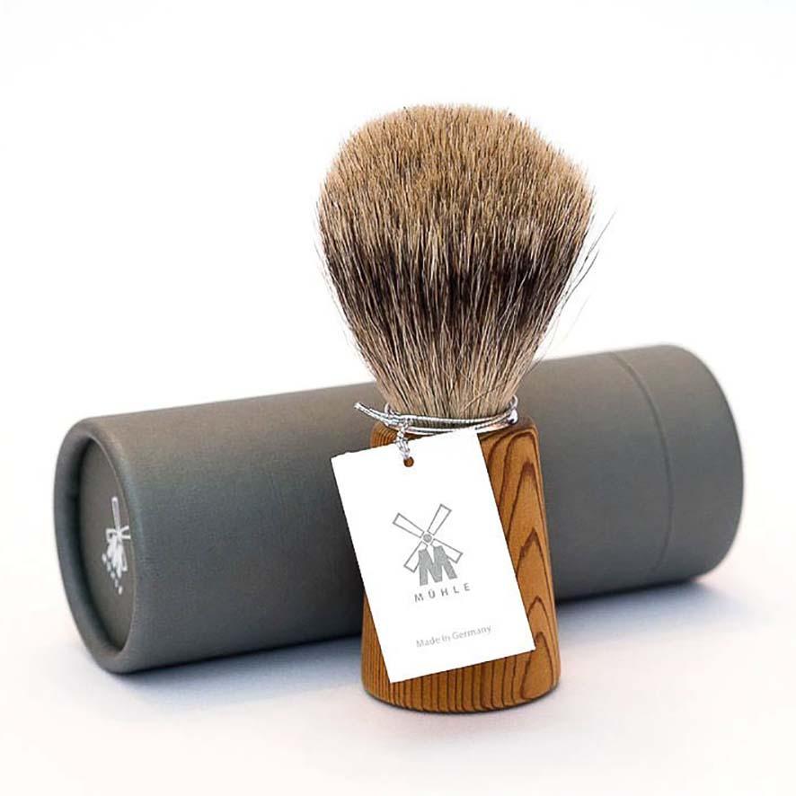 MUHLE BASIC H23 Shaving Brush, Fine Best Badger Hair, Handle PINE WOOD
