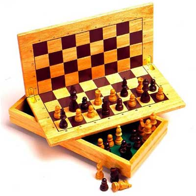 WOODEN FOLDING CHESS SET, king size 60mm