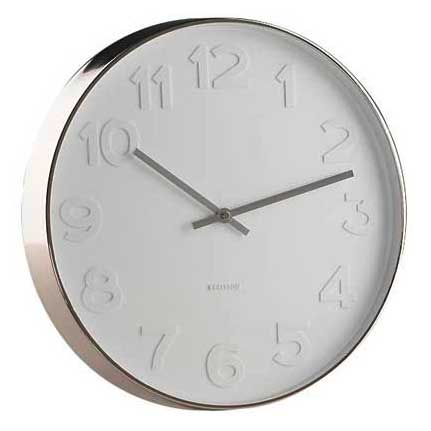 Karlsson Mr White Numbers wall clock with polished steel rim  - Ø 37.5 x 6 cm